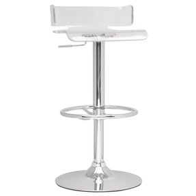 Chintaly Imports Pneumatic Gas Lift Adjustable Height Swivel Stool, Chrome/Clear Acrylic