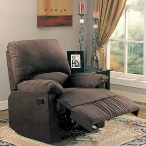 Coaster Microfiber Upholstered Glider Recliner Chair in Chocolate Microfiber