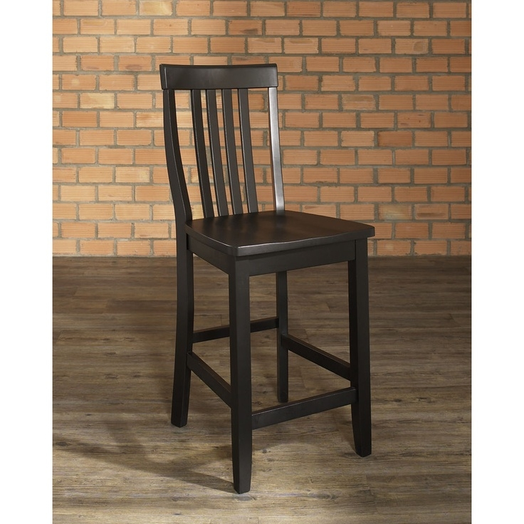 Crosley Furniture School House Bar Stool, Black With 24 Inch Seat Height,  Set