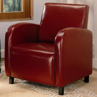 Deep Red Leather-like Accent Chair, Small Office Waiting Area Chair