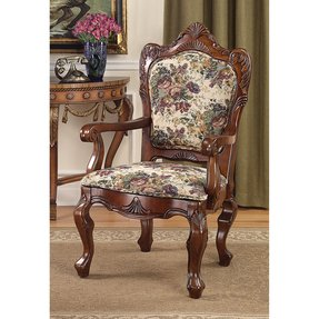 Emily Dickinson Floral Jacquard Upholstered Arm Chair in Warm-Tone