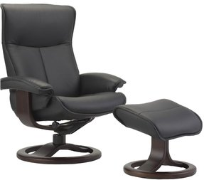 Fjords Senator Leather Recliner and Ottoman - Norwegian Ergonomic Scandinavian Reclining Chair in Soft Line Genuine Leather