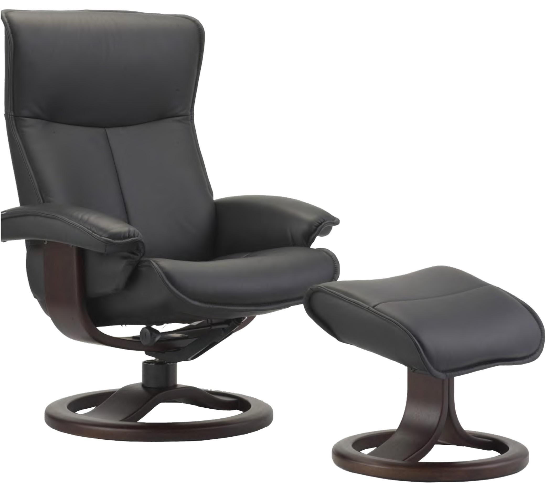 Fjords Senator Leather Recliner And Ottoman   Norwegian Ergonomic  Scandinavian Reclining Chair In Soft Line Genuine