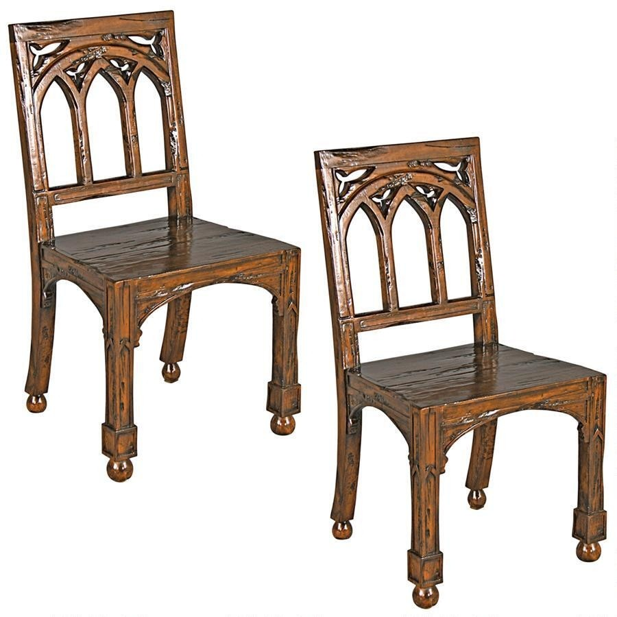 Flying Buttress Back Gothic Style Antique Replica Hand Carved Mahogany Chair  (The Digital Angel)