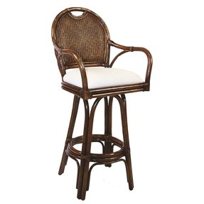 Hospitality Rattan Classic Indoor Swivel Rattan & Wicker 24 in. Counter Stool with Cushion - TC Antique