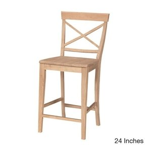 International Concepts S 6132 X Back Stool 24 Inch Sh Unfinished