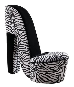 Kings Brand Zebra Design Fabric High Heel Accent Shoe Chair