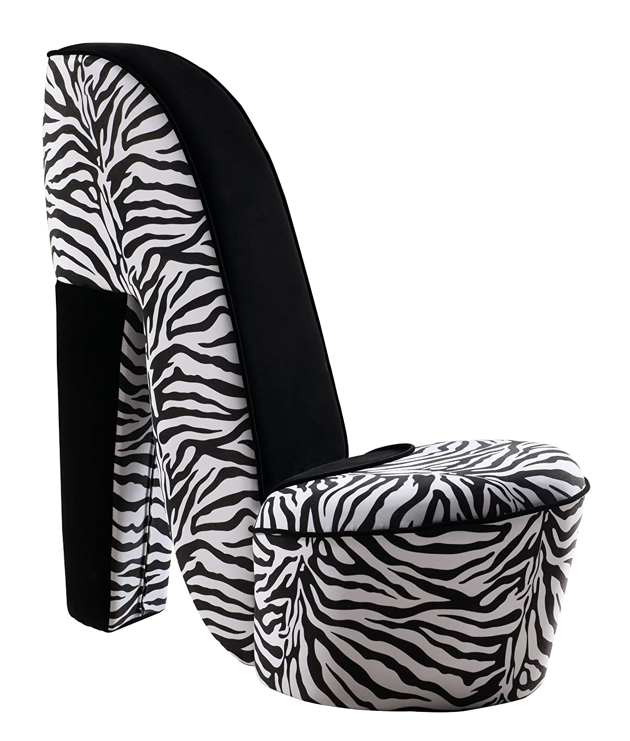 Incroyable Kings Brand Zebra Design Fabric High Heel Accent Shoe Chair