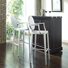 LexMod Aluminum Ghost Bar Stool Set in Silver