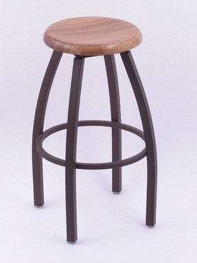 Misha 36 High Wooden Seat Round Backless Swivel Spectator Stool