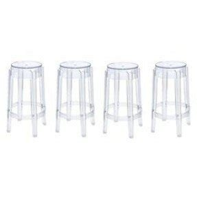 Philippe Starck Style Charles Ghost Bar Stool Set of 4