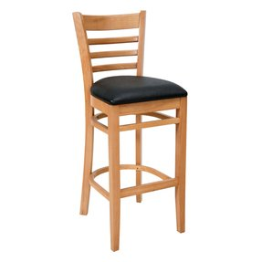 Royal Industries ROY 8002 N BRN Ladder Back Bar Stool w/ Natural Finish & Brown Upholstered Seat, Each