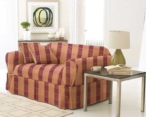 Sofa / Couch Cover Slipcover 3 Pc. Set=Sofa + Loveseat + Chair Covers / Slipcovers 3 Pcs SET Stripe Jacquard Fabric - Burgundy color