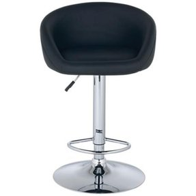 Tempo Leather Adjustable Height Black Bar Stool