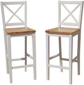 TMS 30 inch Virginia Cross Back Stools (Set of 2), White/natural