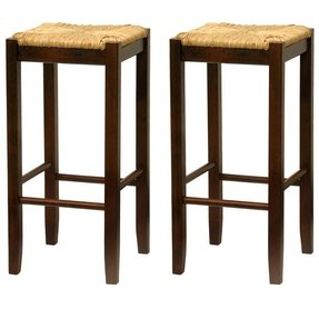 Winsome Wood 29-Inch Square Rush Seat Bar Stool, Set of 2