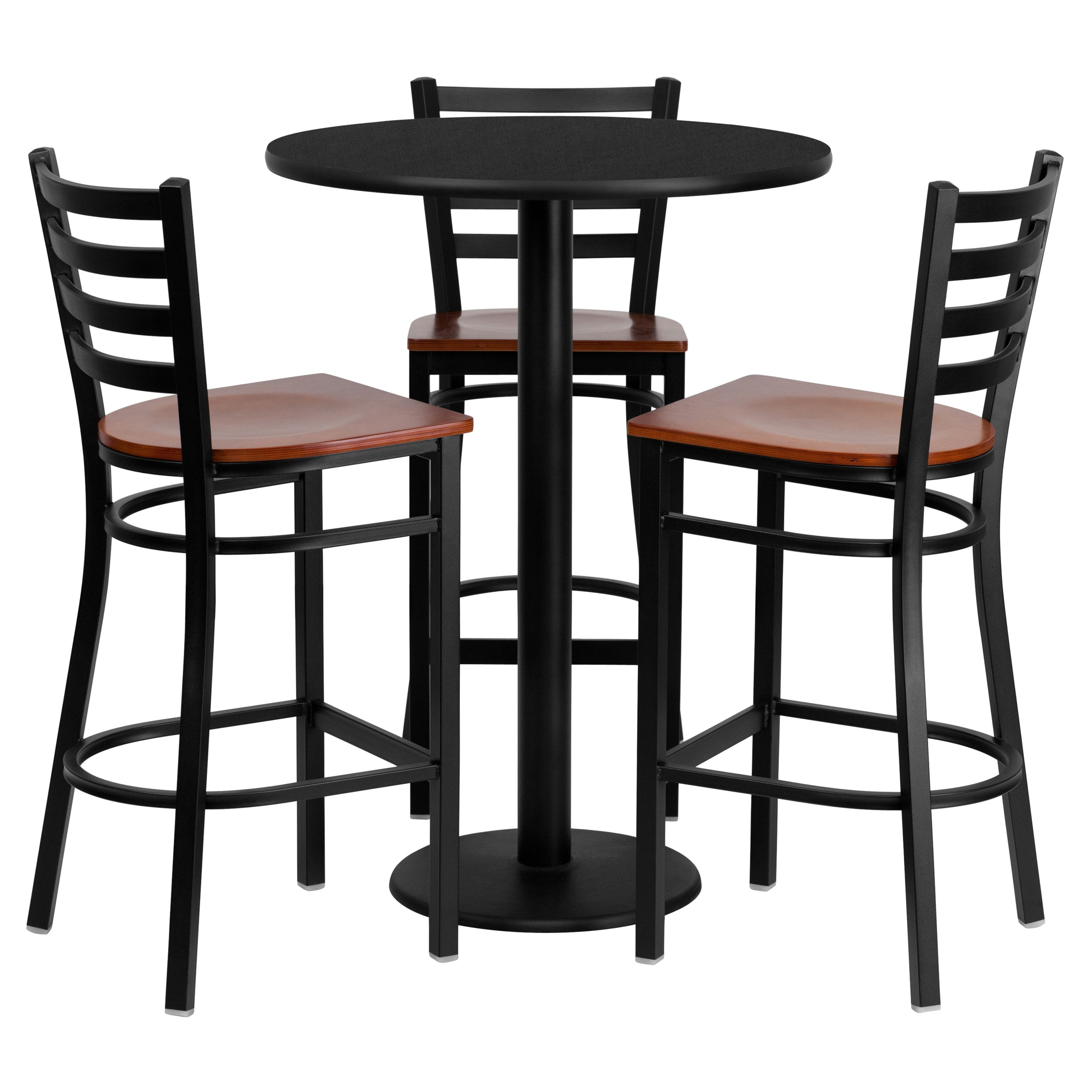 Genial 30u0027u0027 Round Mahogany Table Set With 3 Grid Back Metal Bar Stools