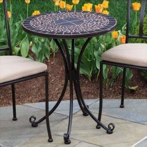 Alfresco Home 24 Inch Ponza Bistro Table And Base,Mosaic Design