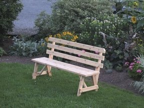 Cedar 2 Foot Traditional BACKED BENCH ONLY!!! - Amish Made USA -Stained - Bees Wax