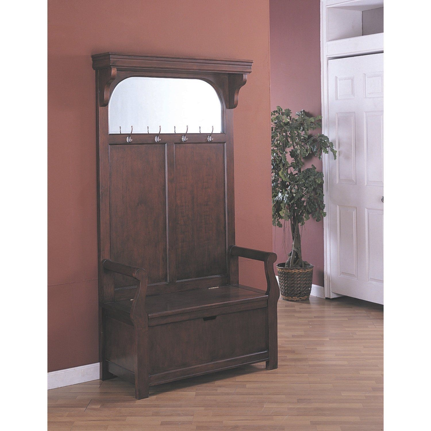 Cherry Entryway Wood Hall Tree Coat Rack Storage Bench