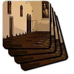 cst_52142_3 Jos Fauxtographee Realistic - The Inside Benches At a Catholic Church With a Big Picture of Mary on The Far Wall Posturized - Coasters - set of 4 Ceramic Tile Coasters