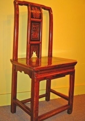 F22087-Antique Carved Straight Back Chinese Chair, circa 1880, China, Southern Elm (Beech - Jumu), A