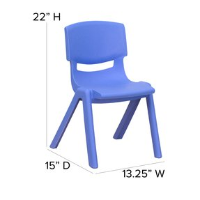 Flash Furniture YU-YCX-001-BLUE-GG Blue Plastic Stackable School Chair with 12-Inch Seat Height
