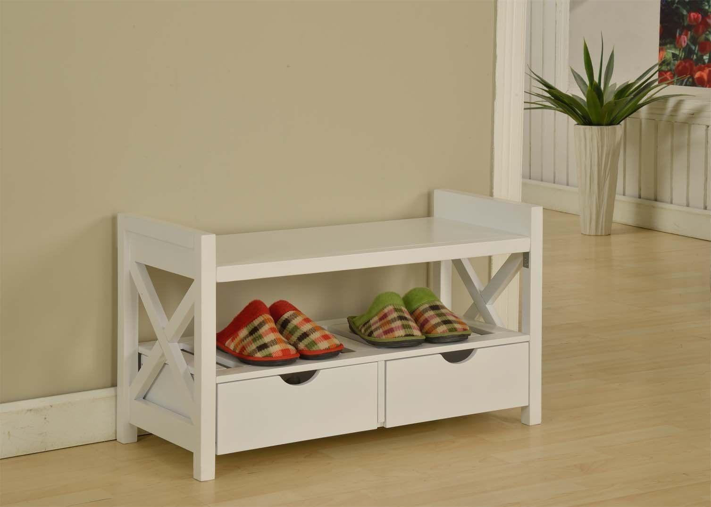 Kingu0027s Brand White Finish Wood Shoe Storage Bench With Drawers