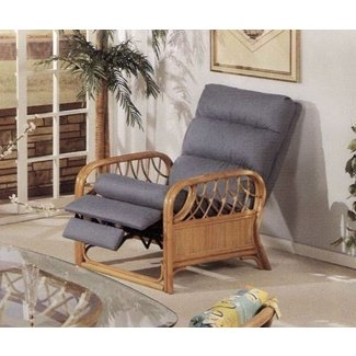 Newton Rattan Upholstered Furniture Recliner Chair Made in USA