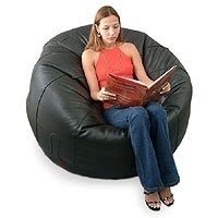 NOVICA Leather Beanbag Chair Cover, ...