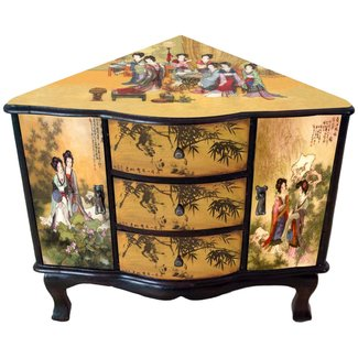 Oriental Furniture Best Quality Low Price Japanese Style Decor Accent Accessory, 24-Inch Enchanted Ladies Asian Design Corner Cabinet