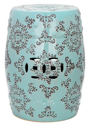 Safavieh Castle Gardens Collection Medallions Ceramic Garden Stool, Light Blue