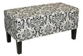 Skyline Furniture Modern Storage Bench in Traditions Black and White