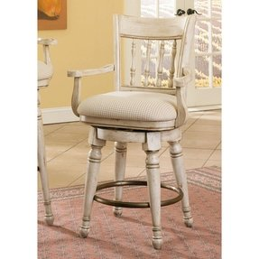 Swivel Counter Stool by Hooker Furniture - Antique White and Cherry (479-75-350) (Set of 2)
