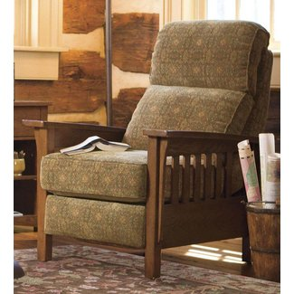 Upholstered Mission Recliner With Wood Frame