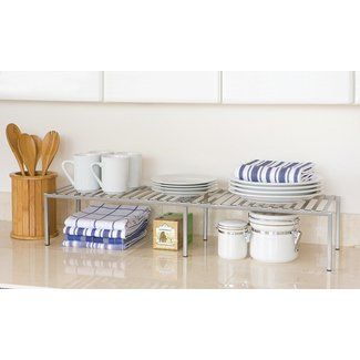 Seville Classics SHE14052 Expandable Kitchen Counter Shelf, Silver