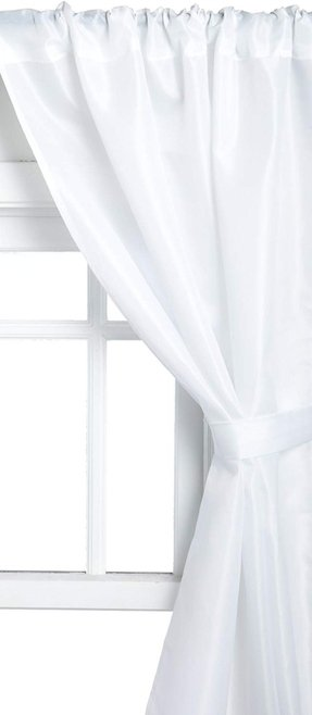 Carnation Home Fashions Polyester Fabric Bathroom Window Curtain, White, 36''x54""""