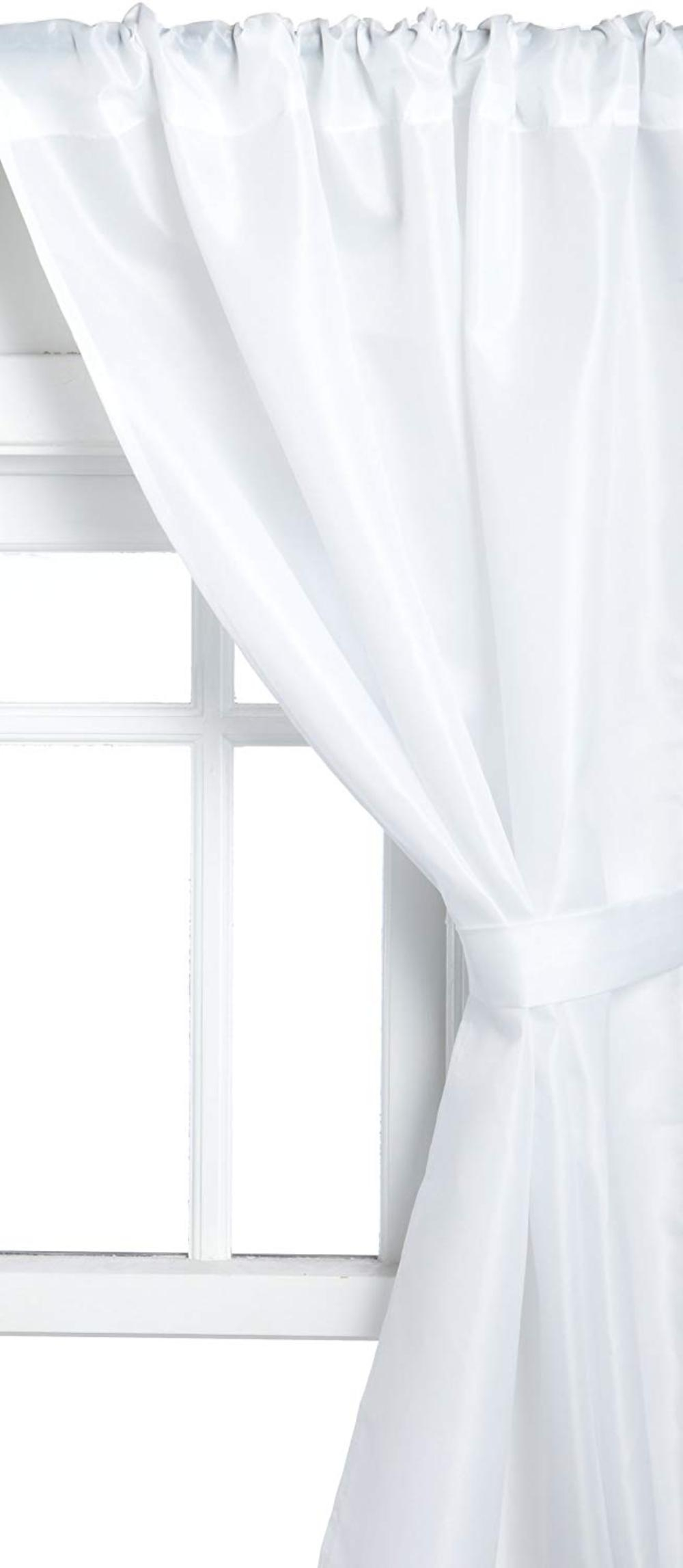 Carnation Home Fashions Polyester Fabric Bathroom Window Curtain, White, ...