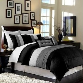Chezmoi Collection 8 Pieces Black, White and Grey Luxury Stripe Duvet Cover Set King Size Bedding