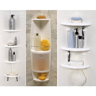 Zenith Corner Bath and Shower Caddy, White
