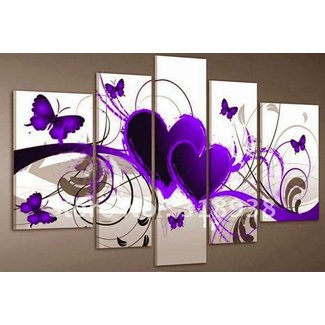 Santin Art-Hand-painted Framed Oil Wall Art Purple Love Butterfly Home Decoration Abstract Oil Painting on Canvas 5pcs/set