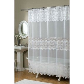 Emily Embroidered Shower Curtain - Color : WHITE