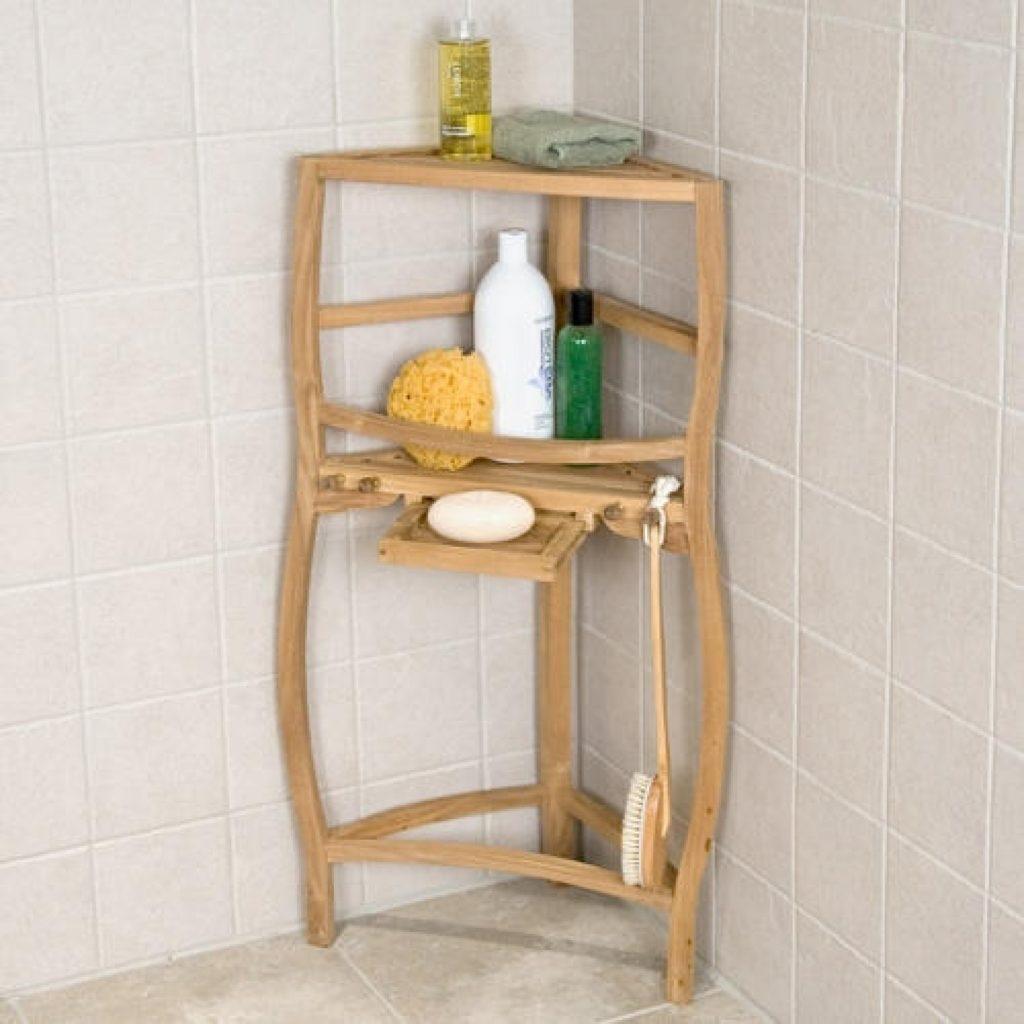 Freestanding Teak Curved Corner Shower Shelf With