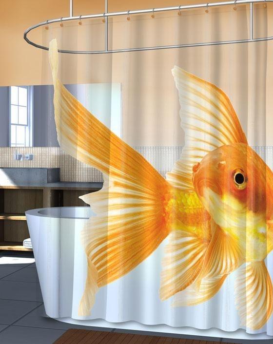 Goldzilla Giant Goldfish Peva Vinyl Shower Curtain