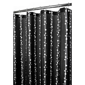 Park B. Smith Bubbles on a String Shower Curtain, Black/White