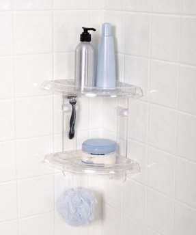 Two Tier Bath and Shower Corner Caddy, Clear