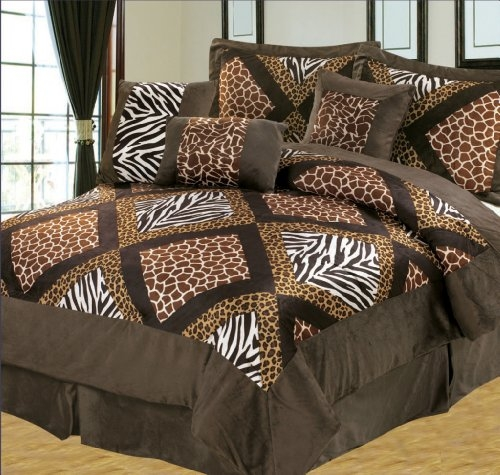 5 Pieces Brown Zebra Giraffe Leopard Animal Print Comforter Set Micro Fur  Bed In