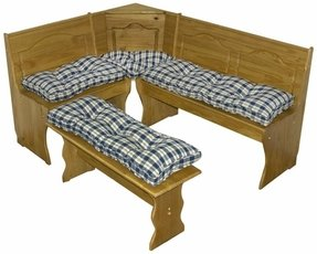 Greendale Home Fashions 4-Piece Nook Cushion Set, Applegate Plaid , Navy Blue