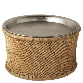 29 Exotic Tropical Bamboo Woven Round Coffee Table With Metal Tray Top