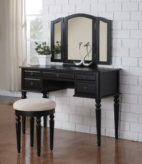 3 Pc Makeup Vanity Set Table with 5 Drawers, Stool and Mirror in Black Finish